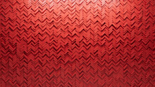 Polished, Herringbone Wall Background With Tiles. 3D, Tile Wallpaper With Futuristic, Red Blocks. 3D Render