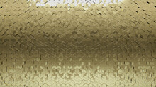 Gold, Polished Wall Background With Tiles. Luxurious, Tile Wallpaper With 3D, Diamond Shaped Blocks. 3D Render