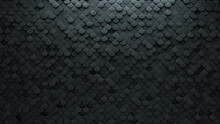 Concrete, 3D Wall Background With Tiles. Fish Scale, Tile Wallpaper With Futuristic, Polished Blocks. 3D Render