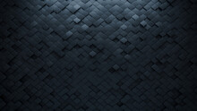 Futuristic, 3D Wall Background With Tiles. Polished, Tile Wallpaper With Arabesque, Black Blocks. 3D Render