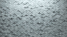 Futuristic, Polished Wall Background With Tiles. Arabesque, Tile Wallpaper With 3D, Concrete Blocks. 3D Render