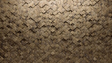 Polished, 3D Wall Background With Tiles. Textured, Tile Wallpaper With Arabesque, Natural Stone Blocks. 3D Render