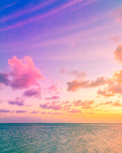 Bright Colorful Sunset Over The Ocean