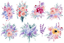 Watercolor Floral Set. Abstract Flowers, Illustration Isolated On White Background.