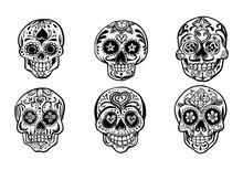 Set Of Sugar Skulls Illustrations. Dead Day. Dia De Los Muertos.Hand Drawn Vector Illustration.
