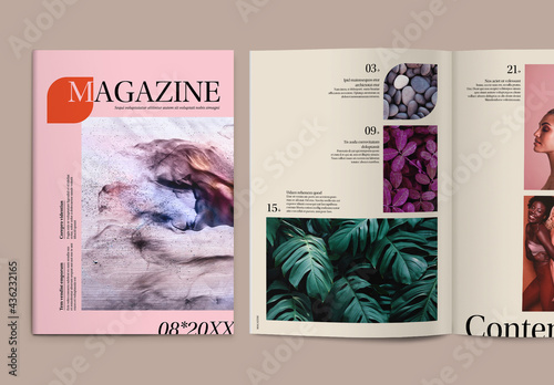 Modern Magazine Layout with Colorful Accents