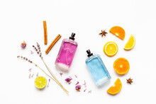 Set Of Perfume Bottles With Fragrance Spaces And Fruits