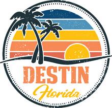 Destin Florida Beach Vintage Travel Stamp