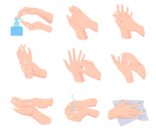 Steps Of Proper Hand Hygiene Vector Illustrations Set. Cartoon Person Washing Hands With Soap, Cleansing, Drying With Towel Isolated On White Background. Health, Hygiene, Infection, Virus Concept