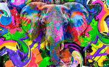 Elephant With Creative Colorful Abstract Elements On Light Background