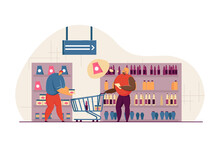 Married Couple Shopping At Grocery Store. Cartoon Male Character Putting Item Into Cart, Woman Checking List Of Products Flat Vector Illustration. Shopping, Family Concept For Banner, Website Design