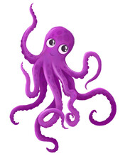 Cartoon Drawing Of An Octopus With Cute Big Eyes. Textured Drawing Of A Marine Life. Textured Purple Octopus With Eyes