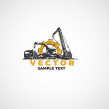 Excavator Truck And Crane, Heavy Construction Equipment.