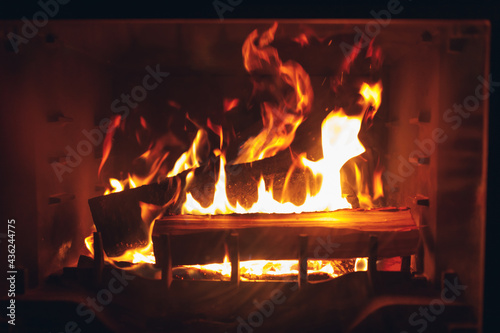 Canvas Print artistic fire, fireplace with burning log