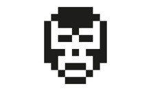 Mexican Wrestling Mask Black And White Pixel Art Icon, To Use As Favicon, For Apps, Logos And Websites, Vectorized Square Design