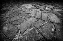 Pavement Texture In Black And White