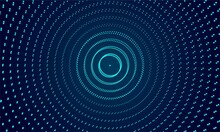 Abstract Geometric Background. The Texture Of Neon Dots Arranged In A Circle, Background Technology, Echolocation, Sound Propagation, 3d Rendering. Vector Illustration