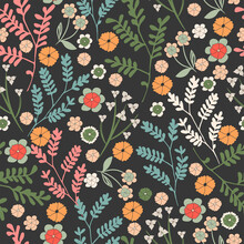 Floral Seamless Pattern. Hand Drawn Flowers. Vector Background.