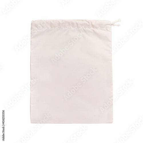 Ivory pouch, bag for shopping groceries on white isolated background Fototapeta