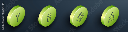 Fotografie, Obraz Set Isometric line Lollipop, Ice cream in waffle cone, Cookie or biscuit and Pudding custard icon