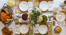 Overhead Of Thanksgiving Table