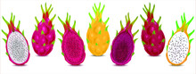 Illustration Set Of Various Dragon Fruits Different Colors. Ripe Dragon Fruit Or Pitaya Isolated On White Background. Pitahaya Is Summer Tropical Fruits For Healthy Concept.