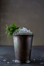 Mint Julep In Vintage Metal Cup