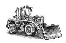 Construction Machine Sketch. Hand Drawn Tractor Excavator Vector Illustration
