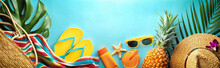 Summer Beach Vacation And Accessories On Blue Background