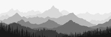 Black And White Landscape, Panorama Of Mountains In The Morning Haze