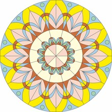 Vector Round Geometric Colored Ornament. Circle For Stained Glass Or Design. Ceiling And Window Decorative Element