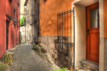 Old Colorful Rustic House With Door