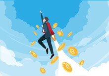 Bitcoin Prices Soared, Businessmen With Jetpack Soaring In The Sky With Bitcoins Falling Behind, The Idea Of increasing The Price And Value Of Crypto Currencies.