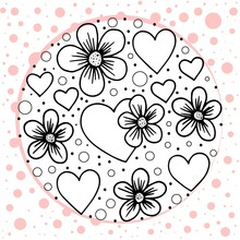 Concept In The Form Of A Circle Of Hearts And Flowers Drawn In Black Outline With Pink Edging. The Background Is Decorated With Pink Dots. Vector Illustration In Doodle Style