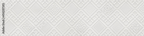 Valokuvatapetti Embossed paper background with  geometric square pattern, seamless texture, pape
