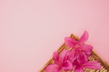 Pink Lilies On A Straw Texture Isolated On A Pink Background