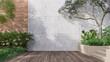 Leinwandbild Motiv Empty exterior concrete wall with tropical style garden 3d render,decorate with tropical style tree ,sunlight on the wall