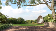 Old Wooden Terrace With Wicker Swing Hang On The Tree With Blurry Nature Background 3d Render.
