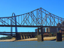 Gateway Arch, Eads Bridge, And Martin Luther King Bridge As Seen From The Mississippi River, In     St Louis, Missouri