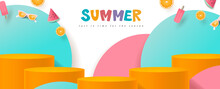 Colorful Summer Sale Banner With Product Display Cylindrical Shape