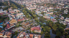Aerial Drone Photograph Of City Of Siem Reap In Cambodia.