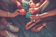 Close Up Of Friendship Concept And Team People With Feet And Hands Holding Umbrella Cocktail Sun Together - Summer Style Holiday Vacation Lifestyle Females