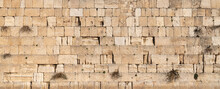 The Western Wall, Kotel Wailing Wall, Holy Place. No People. Temple Mount, Old City Of Jerusalem, Israel.