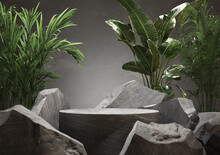 Stone Podium For Display Product With Tropical Leaves. 3d Illustration