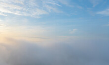 Aerial View Of Sunrise Above Fluffy Sea Fog Misty Clouds With Mountain Hill From Phu Tub Berk, Khao Kho, Phetchabun With Sunlight. Abstract Nature Landscape Background In Morning.