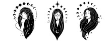 Beautiful Females With Moon. Moon Goddess Hand Drawn Illustrations. Bohemian Goddess. Magic Girl, Witch With The Moon, Tarot Cards, Occult Symbol, Moon Phases.