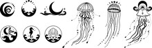 Ocean Witchy Magic Illustrations. Sea And Ocean Witch Symbols. Seashell, Mermaid, Seahorse, Under The Sea Life. Water Goddess Set Tattoo Logo Design