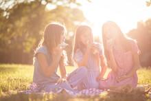 Three Little Girls Having Picnic. This Is So Good.