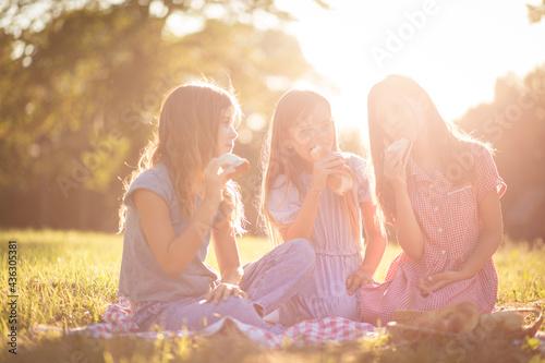 Three little girls having picnic. This is so good. Fototapet
