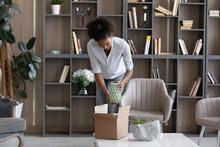 Happy Young African American Woman Taking Vase From Cardboard Box, Feeling Excited Of Getting Wished Decorative Item From Internet Store, Enjoying Improving Domestic Interior Or Styling Modern Office.